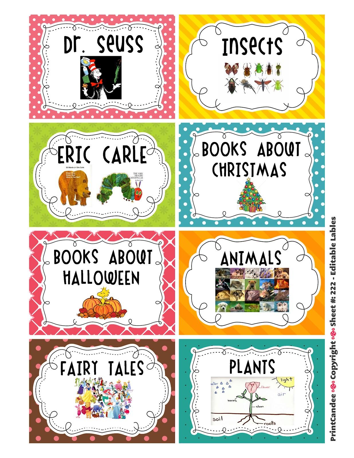 Kindergarten Kapers Book Labels
