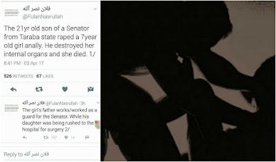 Taraba Senator's Son, Rapes 7-year-old girl to death