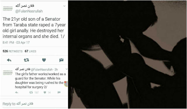 Twitter user claims Taraba Senator's son allegedly raped a 7-year old girl to death
