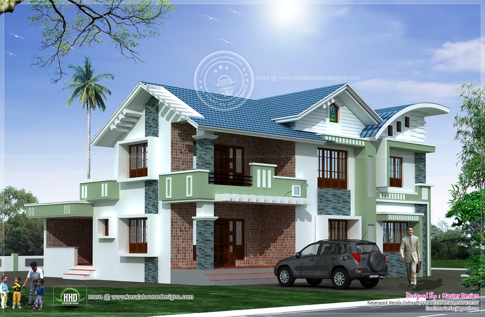 Modern mixed roof villa design kerala home design and for Kerala home designs 2013