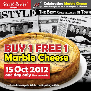Secret Recipe Restaurant: Buy 1 FREE 1 Marble Cheese Cake