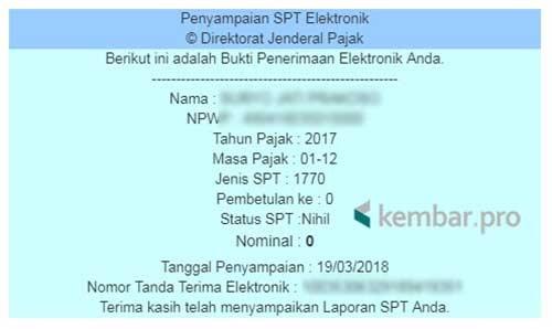 Bukti Penerimaan SPT Elektronik