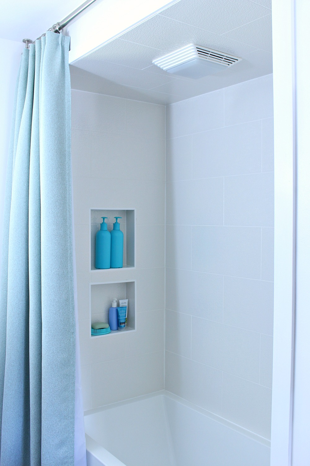 Amazing Ceiling Mounted Shower Curtain Rod + Turquoise Tweed Pleated Shower Curtain  In Modern Bathroom Reno |