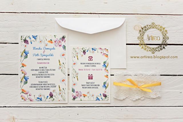 kolorowe kwieciste wiosenne zaproszenia ślubne z koronką oryginalne Artirea