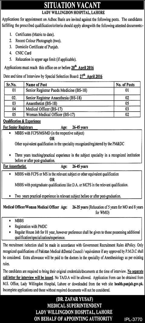 Doctors Jobs Lady Willingdon Hospital Lahore