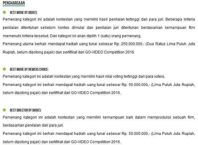 hadiah lomba film gojek, lomba video gojek, kompetisi video gojek, kompetisi film gojek