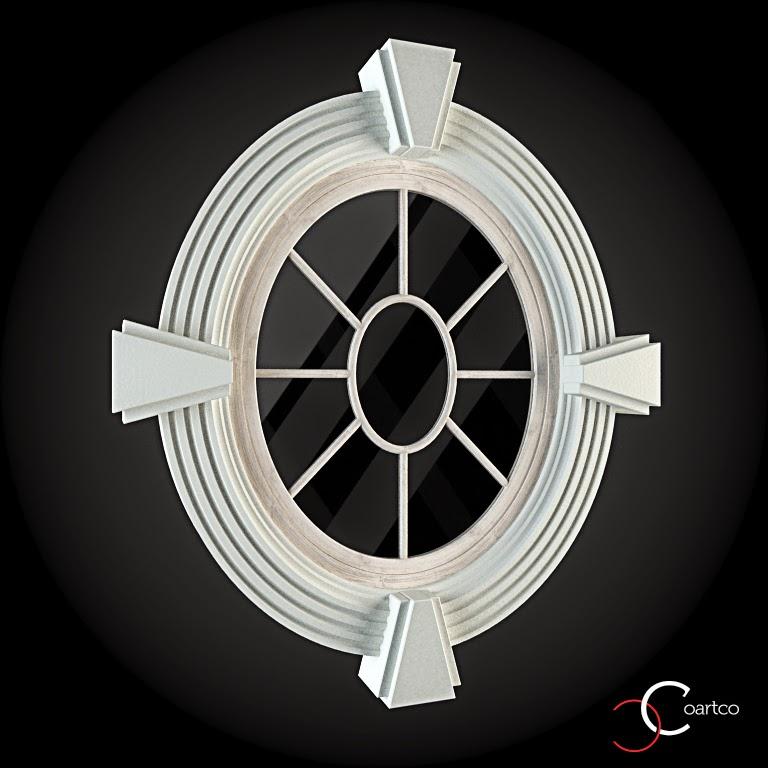 Ornameate Geamuri Rotunde Exterior, fatade case cu profile decorative polistiren, profile fatada,  Model Cod: WIN-011