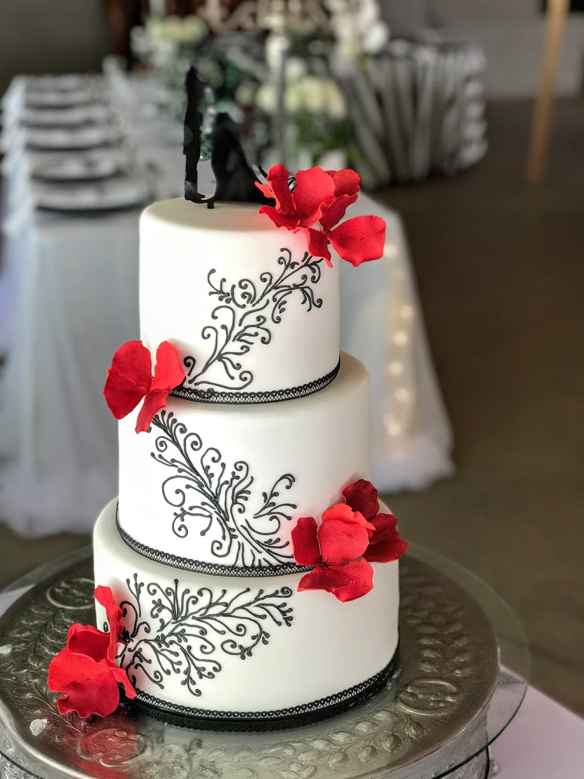Rozanne s Cakes  Black  red and white wedding cake Black  red and white wedding cake