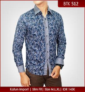baju batik pria warna biru