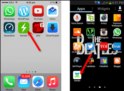 Xender application in your iPhone