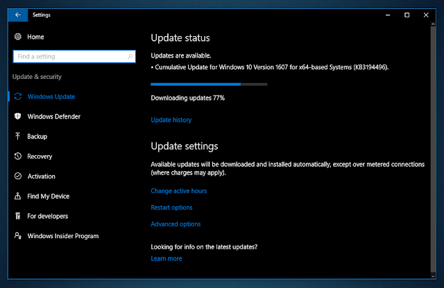 Cumulative update KB3194496 for Windows 10 Version 1607 Build 14393.222