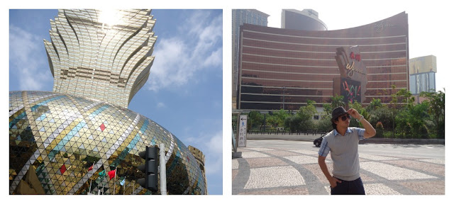 Macau's Grand Lisboa Hotel (left) and Wynn Hotel (right)