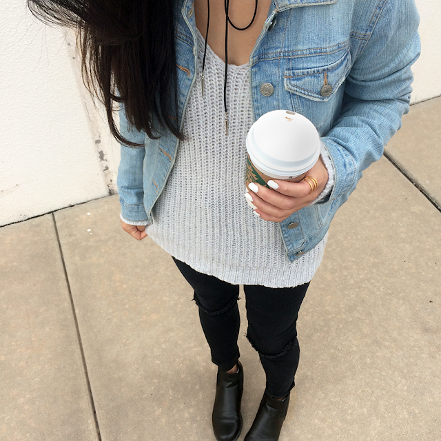Sweater Knit Denim Jacket