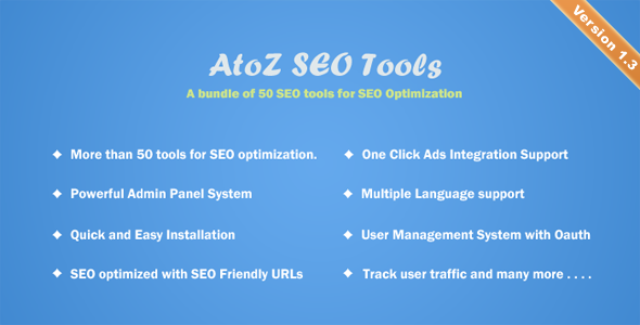 Free Download php scripts of AtoZ SEO Tools V1.1 - Search Engine Optimization Tools
