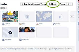 memunculkan tombol ikuti facebook