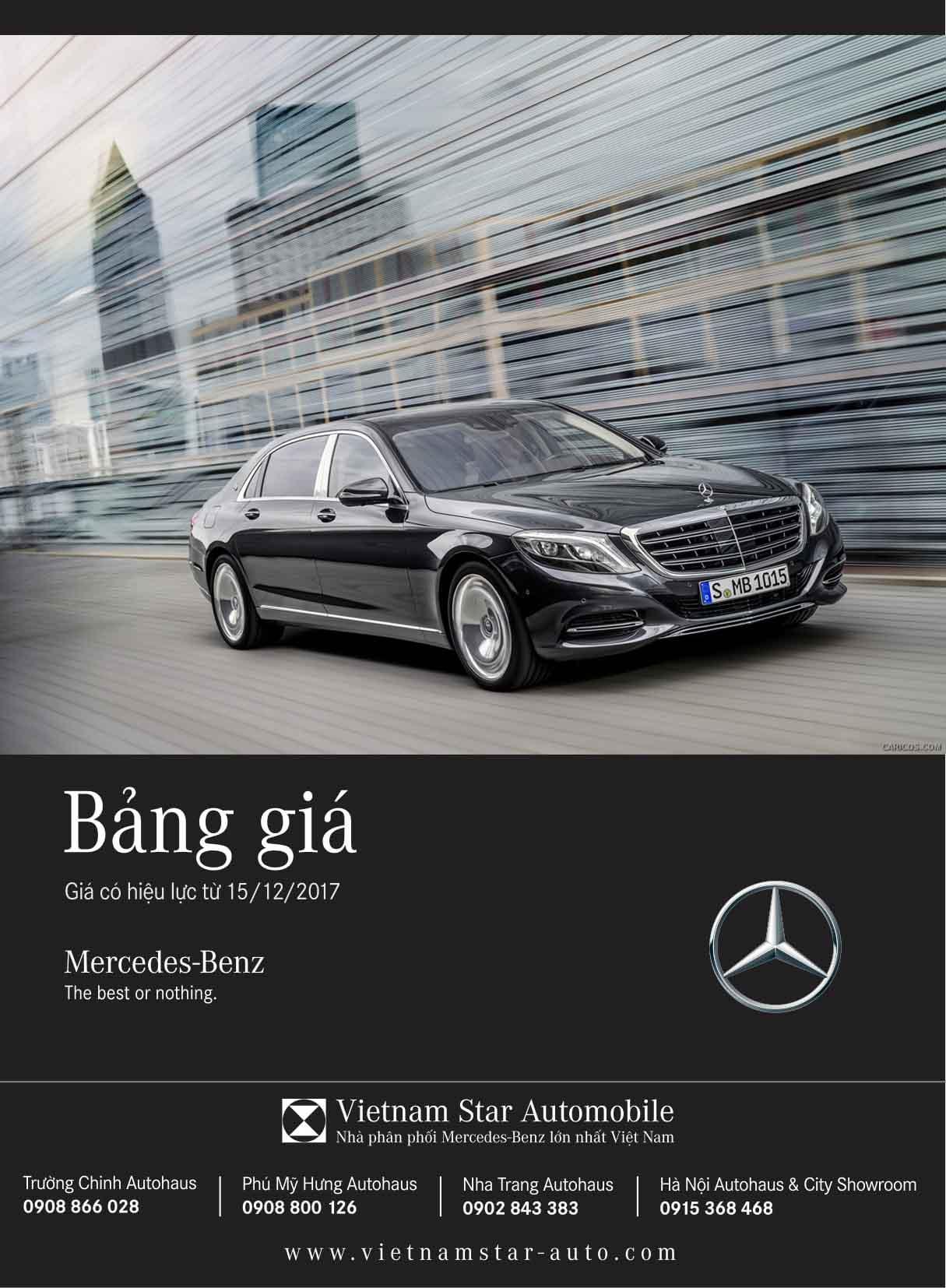 Bảng giá xe Mercedes tháng 12 tại Mercedes Trường Chinh