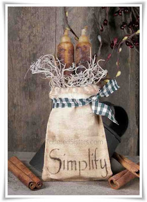 Grungy Primitive Candles in a Muslin Bag - Simplify