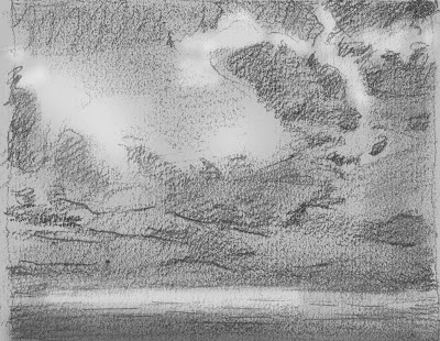 drawing, Cuds, beach, sky, water, atmospheric, Ma