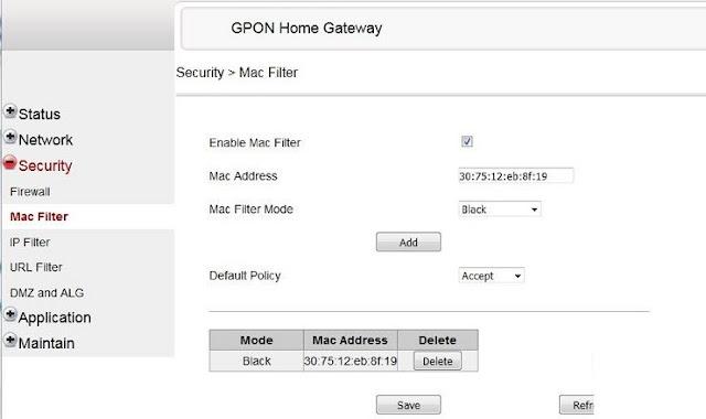 Mac filter của moderm Fpt