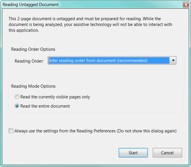 Adobe Acrobat Prompts That The Document Is Untagged And Must Be