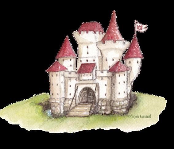 Märchenschloß, Kinderbuchillustration, Vignetten, Aquarell