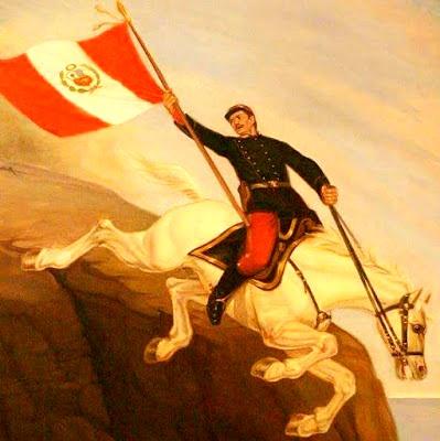 Alfonso Ugarte en caballo lanzándose desde Morro de Arica con la bandera peruana