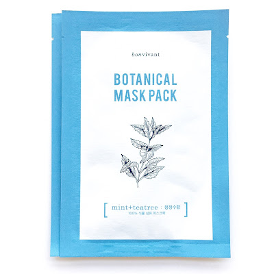 bonvivant botanical mask pack mint + teatree from memebox that is made with plant fibre. It's 100% natural fibre sheet mask.