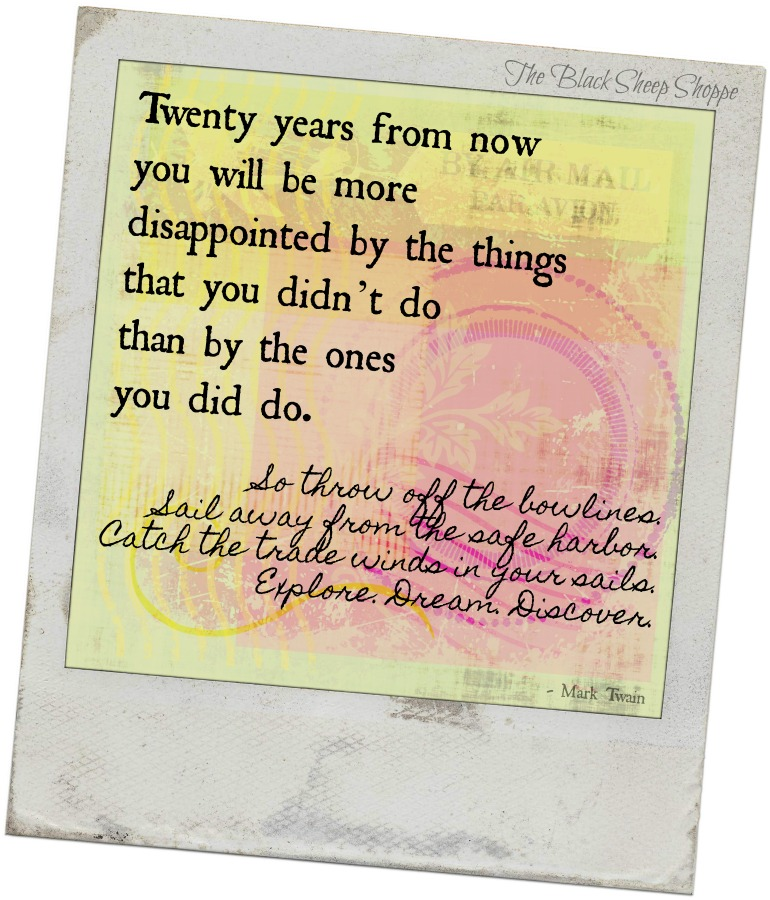 Twenty years from now you will be more disappointed by the things that you didn't do than by the ones you did do. - Mark Twain