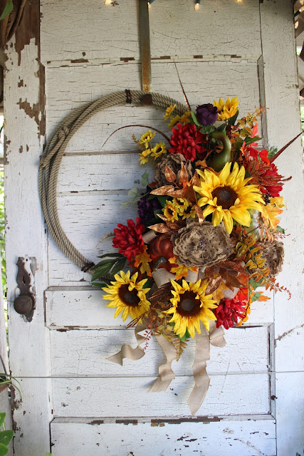 western home decor - fall rope wreath