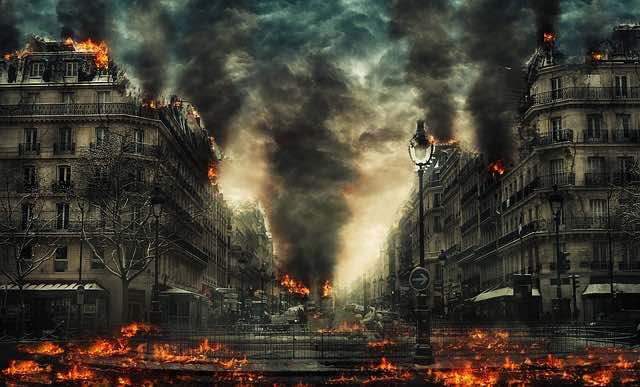 city in flames during the End Times