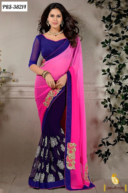 Colorful Embroidery Designer Saree