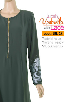 Jubah Umbrella Lace JEL-28 Grey Depan 7
