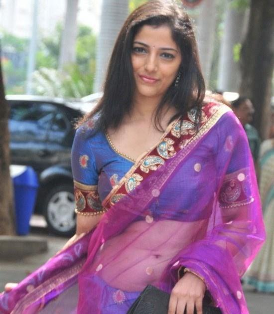 Actress Nishanthi Hot Navel Show In Blue Saree