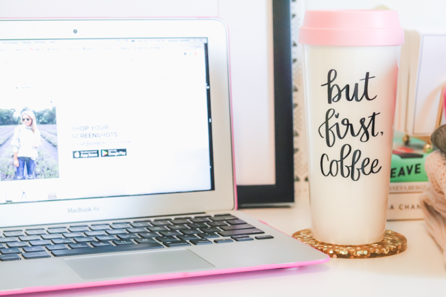 but first coffee travel tumbler on desk