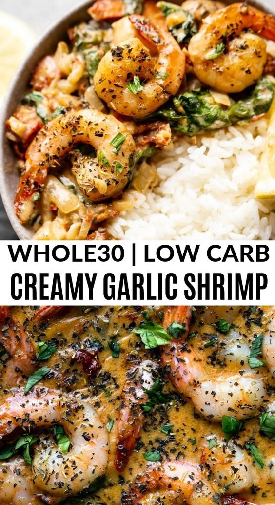 One Pan Creamy Garlic Shrimp