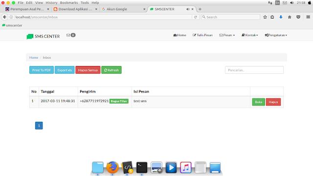 Tampilan Inbox - Download Aplikasi SMS Getway Berbasis Web [SMSCenter]