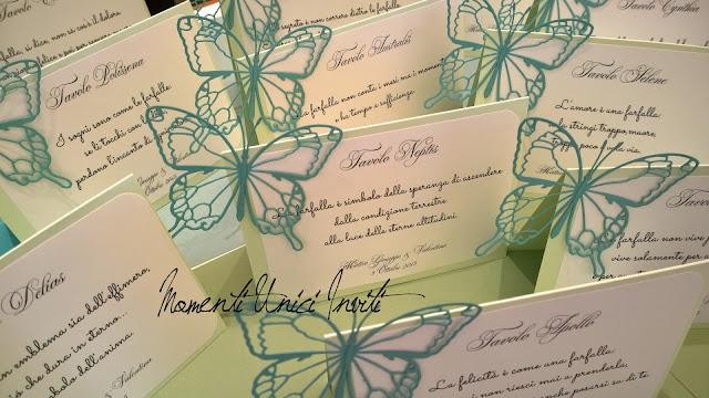 """5 I segnatavolo """"Volo Lieve"""" di Valentina e Matteo GiuseppeCards Tableau Colore Tiffany Colore Verde Menta Segnatavolo Tema Farfalle Verde Mela"""