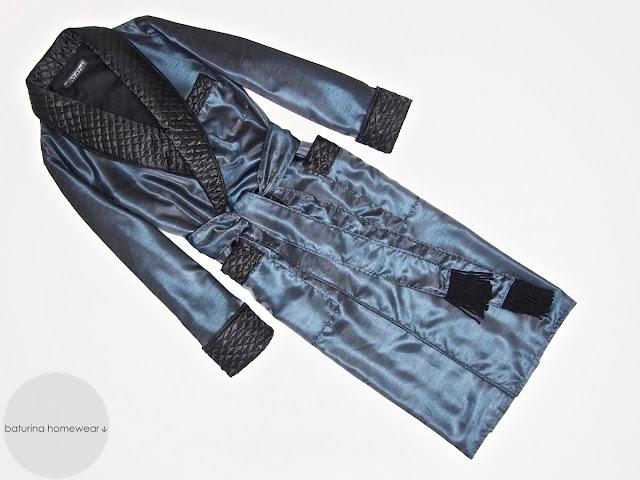 Men's silk dressing gown quilted robe full length dark blue