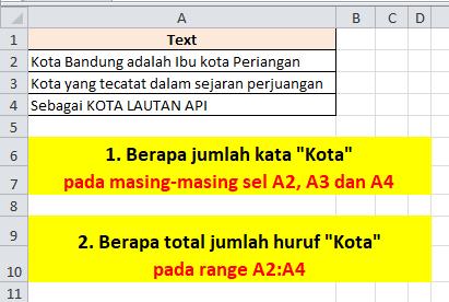 Contoh Soal Rumus Excel Menghitung Jumlah Kata Tertentu