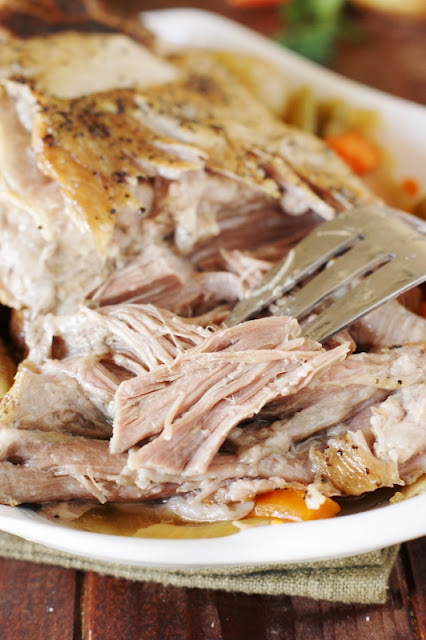 Mama's Stovetop Pork Roast ~ Slow-simmered on the stovetop until fork-tender.  With it's great flavor and one-pot prep, it will quickly become a family favorite meal!   www.thekitchenismyplayground.com