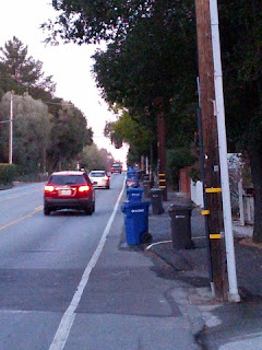 Bike lane completely blocked by trash and recycling bins.
