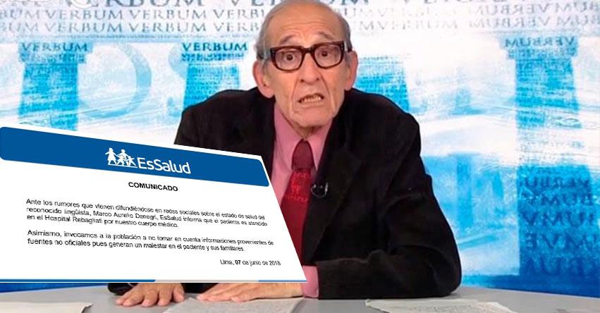 Lingüista Marco Aurelio Denegri se encuentra estable y se recupera lentamente, informó EsSalud