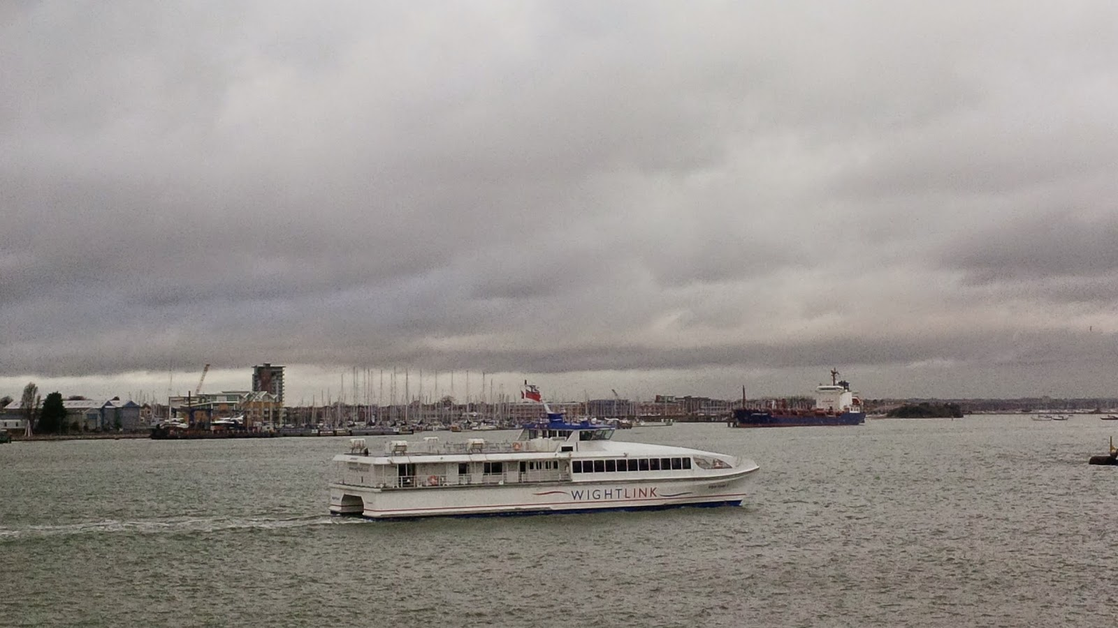 The Wightlink ferry on its way to the Isle of Wight