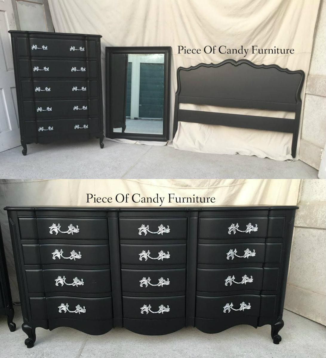 Bon Black French Provincial Bedroom Set.