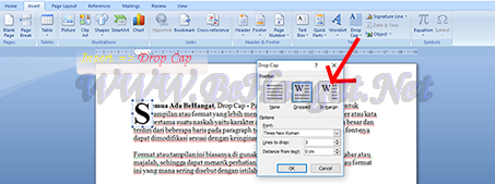 cara membuat drop cap ms word - BeHangat.net