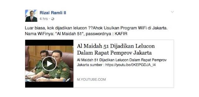 Video Ahok Jadikan Al Maidah 51 Lelucon Kembali Viral, Rizal Ramli Sangat Geram dan Marah