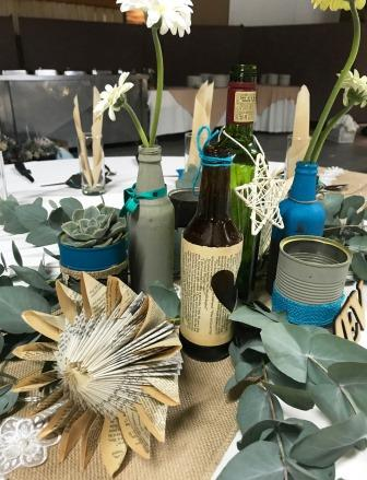 Protea paper flower, cans and bottles at Rustic Wedding