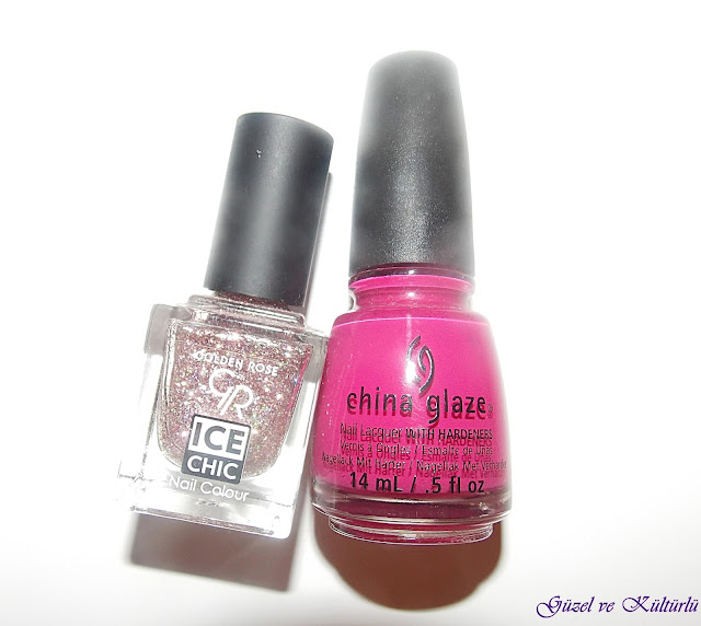 China Glaze  195 Numara ve Golden Rose Ice Chic  105 Numara