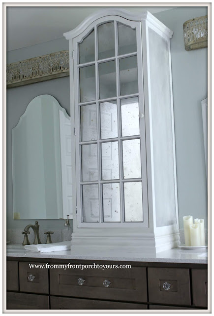 Master Bathroom Makeover-Reveal-DIY-Faux Antique Mirror Effect-Chalk Paint-Cottage Style- French Farmhouse-French Country-Counter cabinet-From My Front Porch To Yours