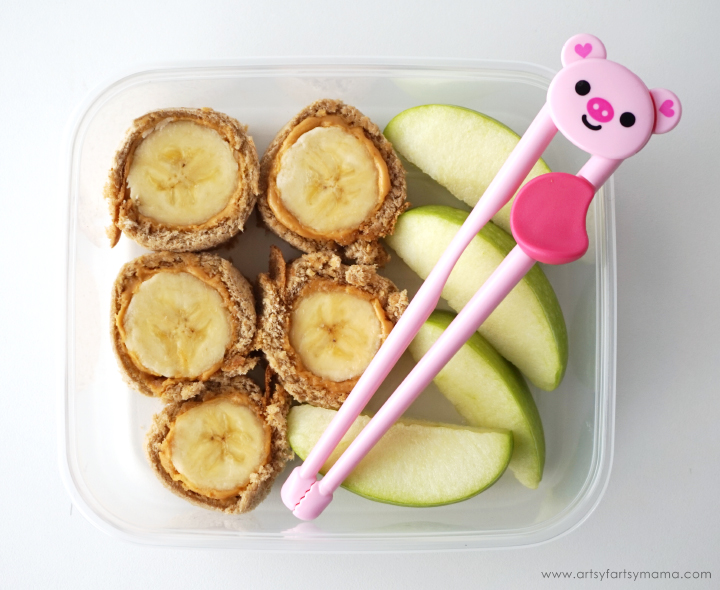 PB Honey & Banana Sushi is a fun lunch for kids to enjoy with Peanut Butter & Co. The Bee's Knees Peanut Butter!